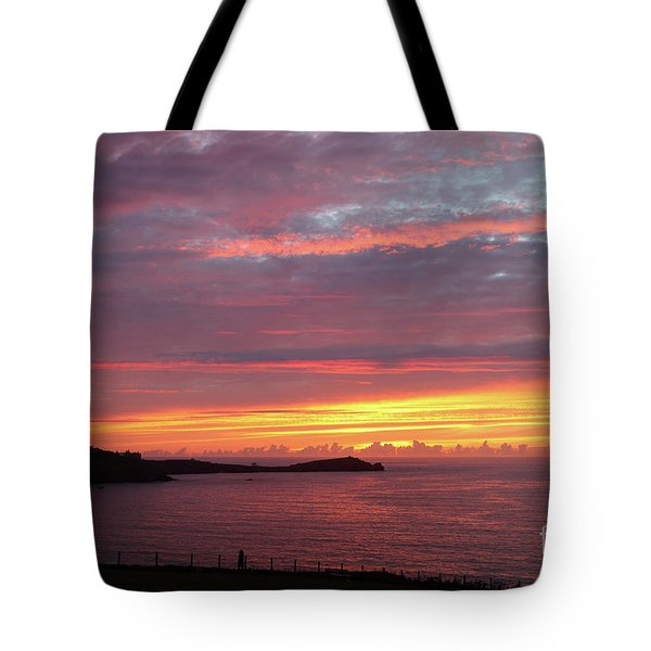 Sunset Clouds In Newquay Cornwall Tote Bag by Nicholas Burningham