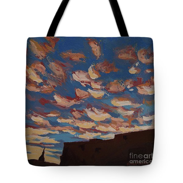 Tote Bag featuring the painting Sunset Clouds Over Santa Fe by Erin Fickert-Rowland