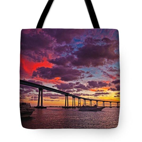Sunset Crossing At The Coronado Bridge Tote Bag