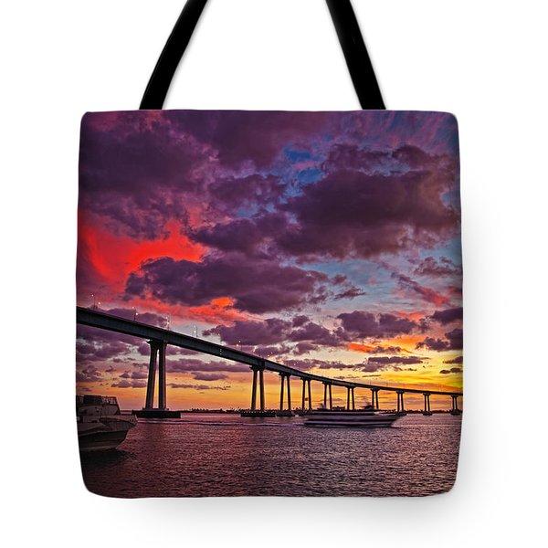 Sunset Crossing At The Coronado Bridge Tote Bag by Sam Antonio Photography