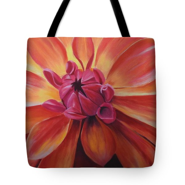 Sunset Dahlia Tote Bag