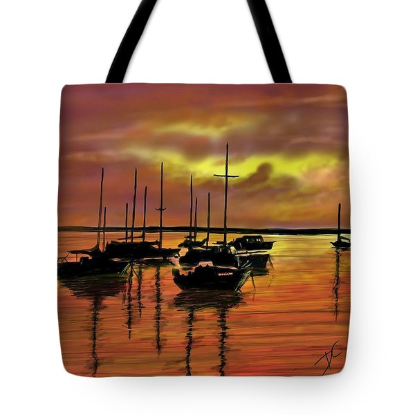 Tote Bag featuring the digital art Sunset by Darren Cannell