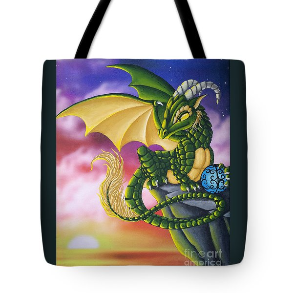 Tote Bag featuring the painting Sunset Dragon by Mary Hoy
