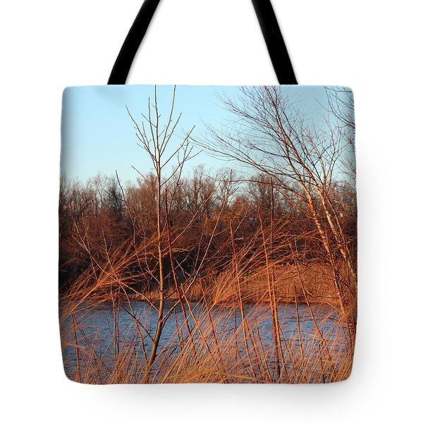 Sunset Field Over Water Tote Bag