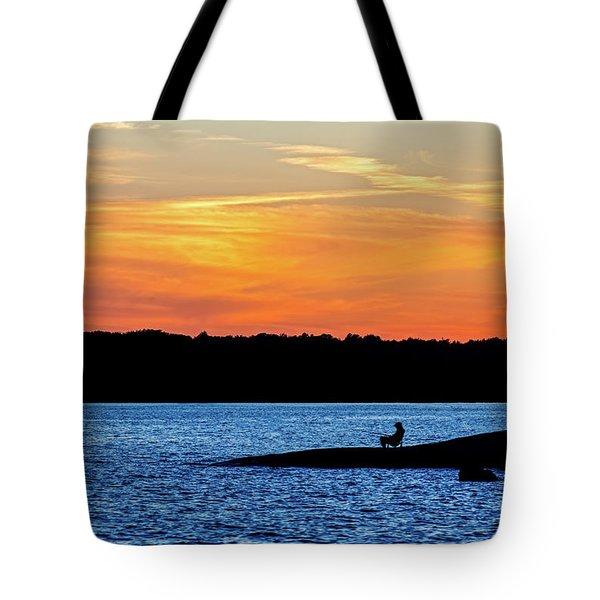 Sunset Fisherman  Tote Bag