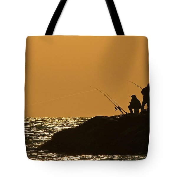 Sunset Fishermen Tote Bag