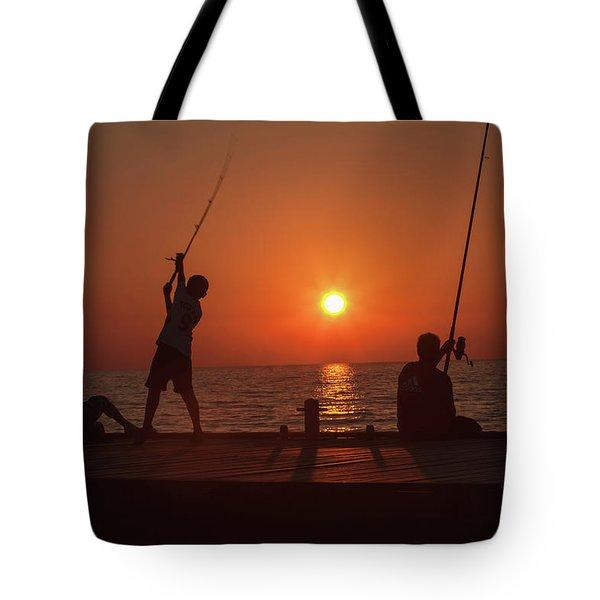 Sunset Fishermenr Tote Bag