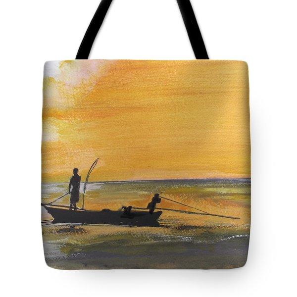 Sunset Fishing Tote Bag