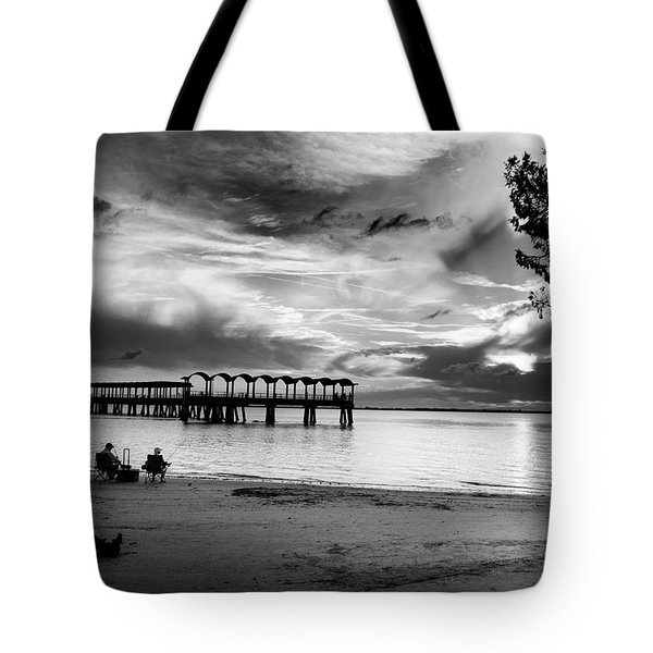 Sunset Fishing In Black And White Tote Bag