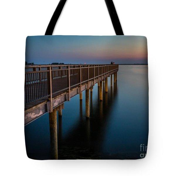 Sunset Fishing Pier Tote Bag by Darleen Stry