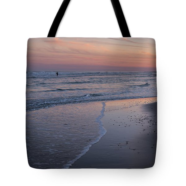 Tote Bag featuring the photograph Sunset Fishing Seaside Park Nj by Terry DeLuco