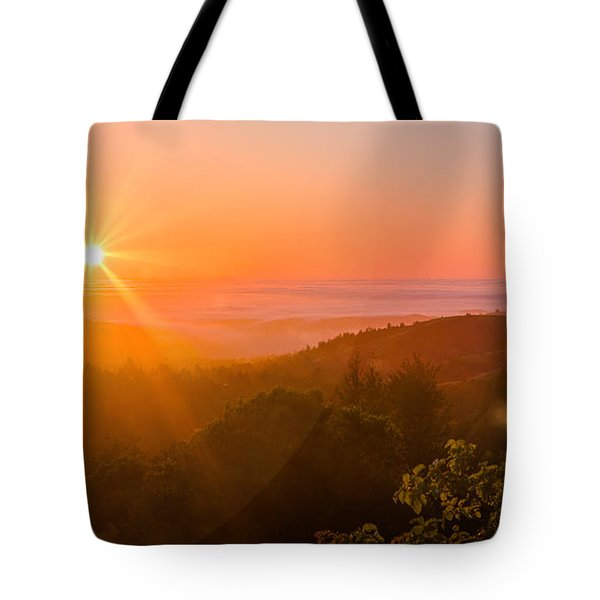 Sunset Fog Over The Pacific #1 Tote Bag