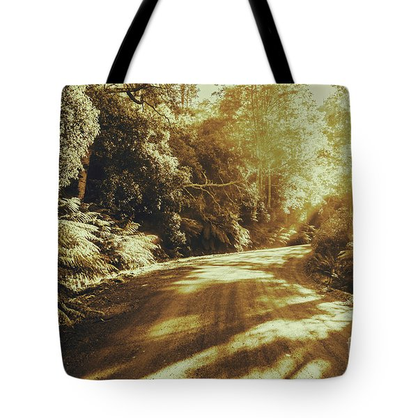 Sunset Forest Drive Tote Bag