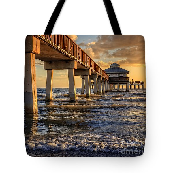 Sunset Fort Myers Beach Fishing Pier Tote Bag by Edward Fielding