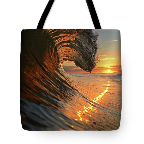 Sunset From Sea Tote Bag
