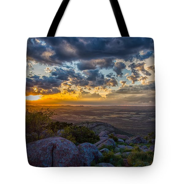 Sunset From The Heavens Tote Bag by James Menzies