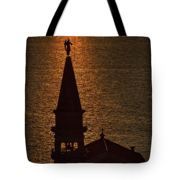 Tote Bag featuring the photograph Sunset From The Walls #2 - Piran Slovenia by Stuart Litoff