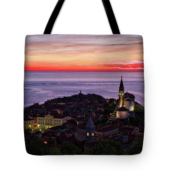 Tote Bag featuring the photograph Sunset From The Walls #3 - Piran Slovenia by Stuart Litoff