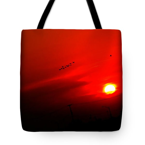 Sunset Geese Leaving Disappearing City - 0814  Tote Bag by Michael Bessler