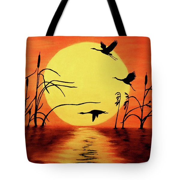Tote Bag featuring the painting Sunset Geese by Teresa Wing