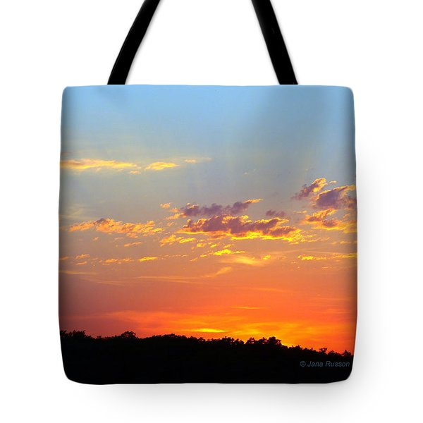 Sunset Glory Orange Blue Tote Bag
