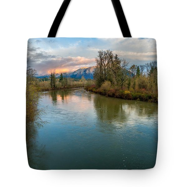 Sunset Glow Over The Snoqualmie River Tote Bag