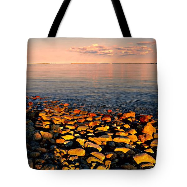 Sunset Glowing On Beach Rocks Tote Bag by Elaine Manley