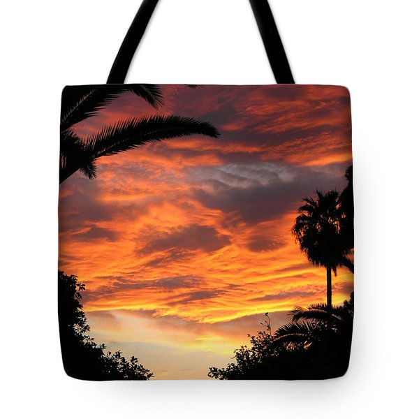 Sunset God's Fingers In Clouds  Tote Bag by Diane Greco-Lesser