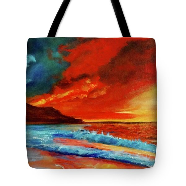 Sunset Hawaii Tote Bag by Jenny Lee