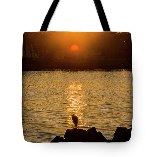 Sunset Heron Tote Bag
