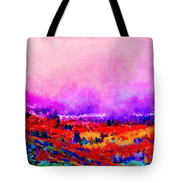 Tote Bag featuring the painting Sunset Hills by Angela Treat Lyon
