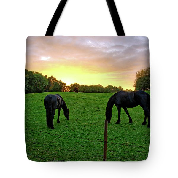 Sunset Horses Tote Bag