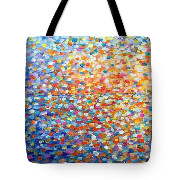 Tote Bag featuring the painting Sunset - Impressionist Painting by Cristina Stefan