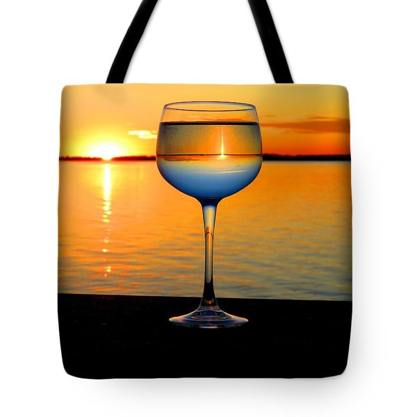 Sunset In A Glass Tote Bag