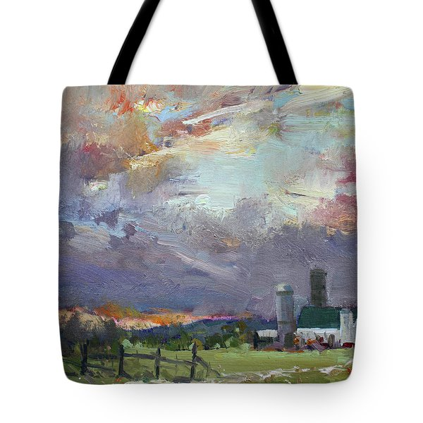 Sunset In A Troubled Weather Tote Bag