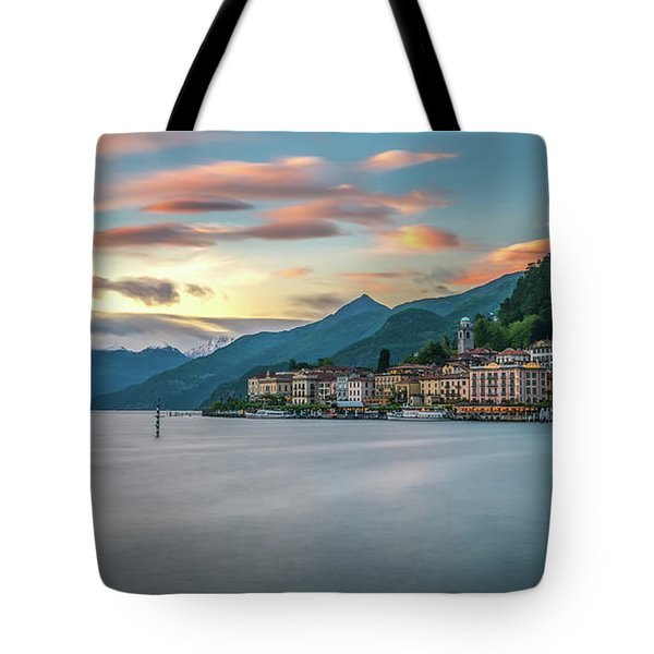 Sunset In Bellagio On Lake Como Tote Bag by James Udall