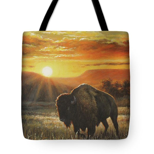 Sunset In Bison Country Tote Bag