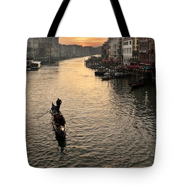 Sunset In Grand Canal Tote Bag by Marco Missiaja