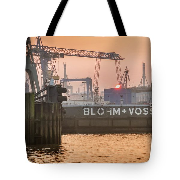 Sunset In Hamburg Port Germany Tote Bag