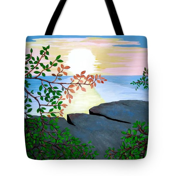 Tote Bag featuring the painting Sunset In Jamaica by Stephanie Moore