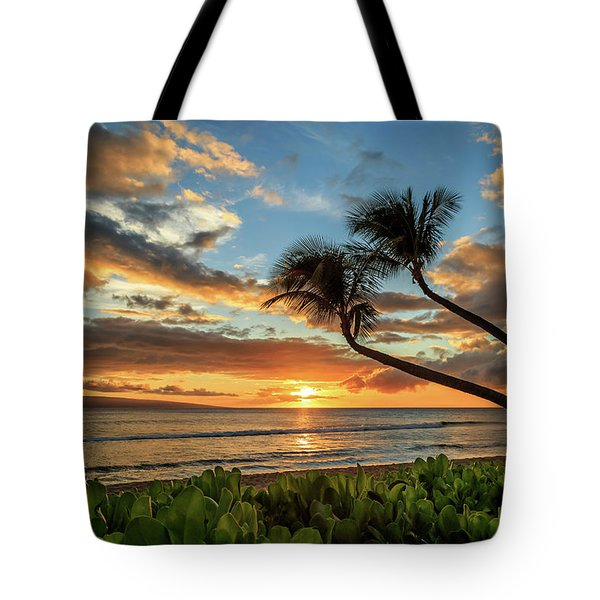 Tote Bag featuring the photograph Sunset In Kaanapali by James Eddy