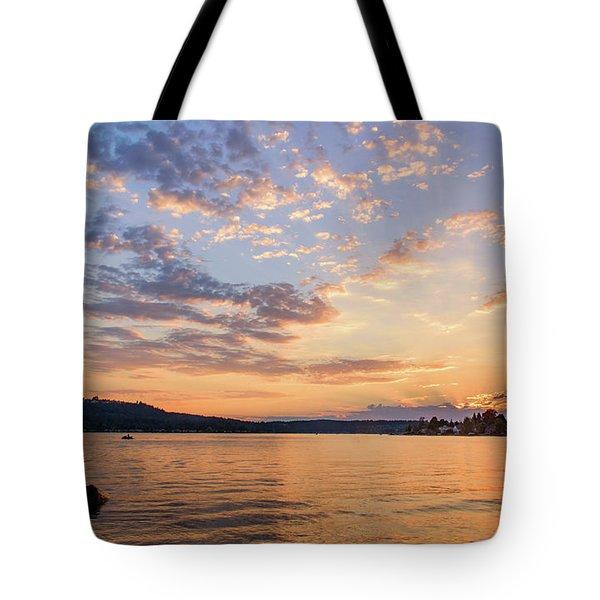 Sunset In Lake Sammamish Tote Bag
