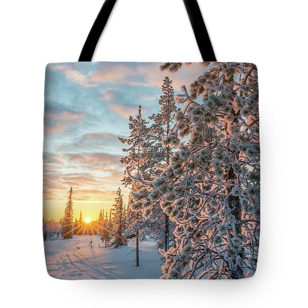 Tote Bag featuring the photograph Sunset In Lapland by Delphimages Photo Creations