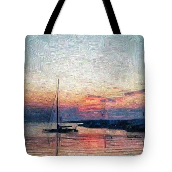 Sunset In Oil Tarpaulin Cove Tote Bag