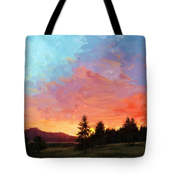 Sunset In Oregon Tote Bag