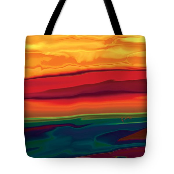 Tote Bag featuring the digital art Sunset In Ottawa Valley 1 by Rabi Khan