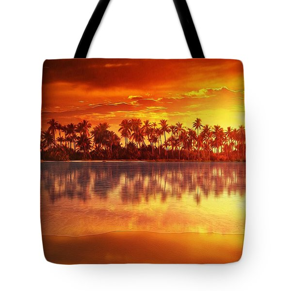Tote Bag featuring the mixed media Sunset In Paradise by Gabriella Weninger - David