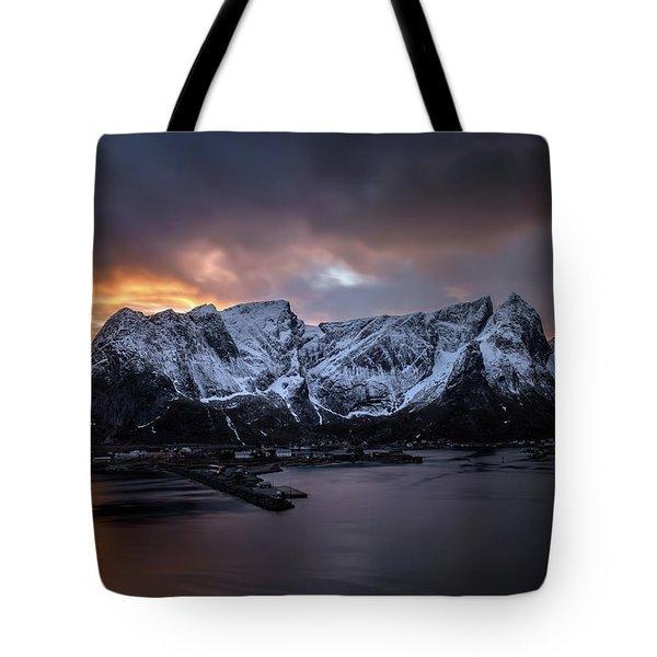 Sunset In Reine Tote Bag by Swen Stroop