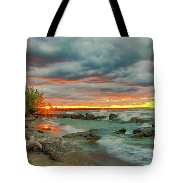 Sunset In Rocky River, Ohio Tote Bag