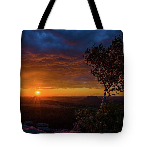 Sunset In Saxonian Switzerland Tote Bag